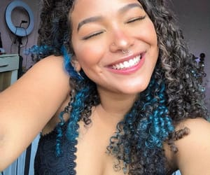 blue, colored hair, and curls image