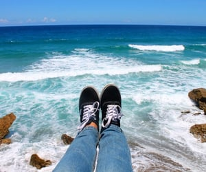 beach, tropical, and vans image