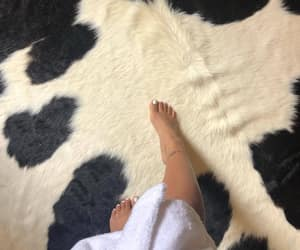 black and white, cow, and rug image