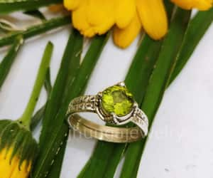 sterling silver, peridot jewelry, and promise ring image