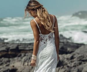 spaghetti straps, beach wedding dresses, and lace backless image