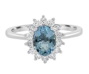 diamonds, aquamarine, and gemstone ring image