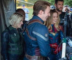 chris evans, Scarlett Johansson, and brie larson image