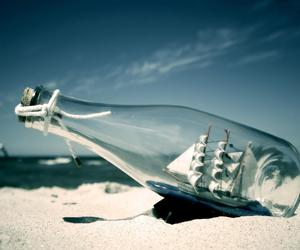 bottle, beach, and ship image