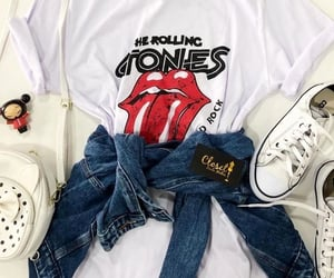 converse, girls, and rolling stones image