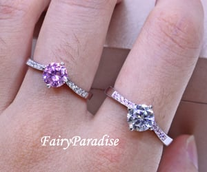 etsy, pink stone ring, and 1 carat round cut image
