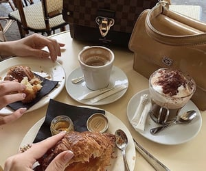 beverage, coffee, and croissant image