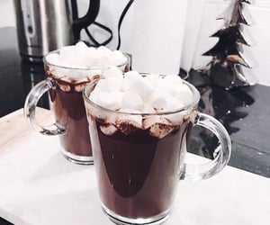 marshmallow, winter, and drink image