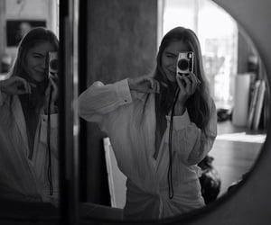 b&w, camera, and mirror image