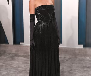 beauty, black dress, and red carpet image