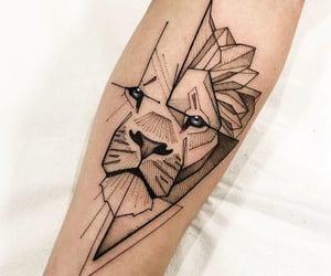 tattoo, black, and lion image