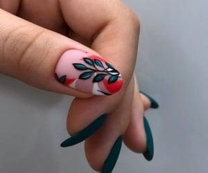 nails, nail aesthetic, and teal nails image