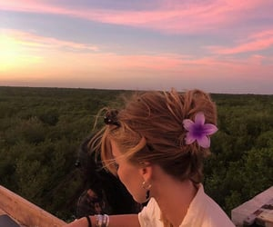 girl, sky, and flowers image