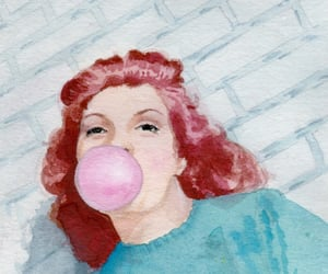 aqua, bubble gum, and gouache image