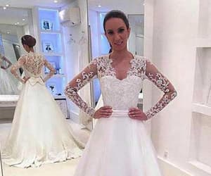 long sleeves, appliques wedding dresses, and v neck image