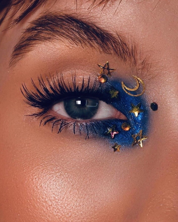 makeup, stars, and blue image