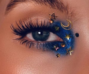 makeup, blue, and stars image