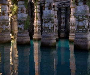 ancient, blue, and pillars image
