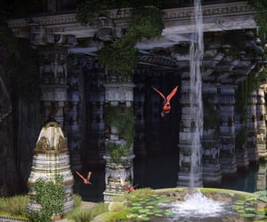 parrot, Temple, and waterfall image