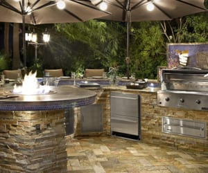 outdoor kitchen ideas, outdoor kitchen island, and outdoor grill island image