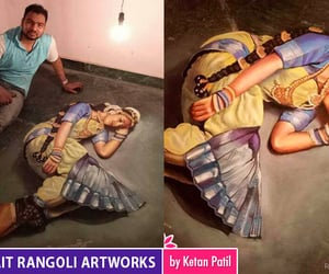 artworks, rangoli, and portrait image
