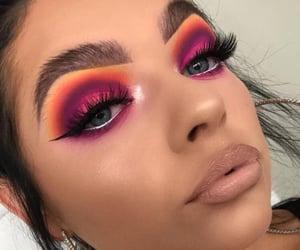 beauty, lip gloss, and colorful eyeshadow image