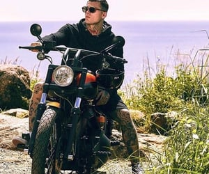 guys, motorcycle, and tattoo image