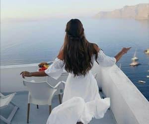 travel holiday beautiful and white dress brunette image