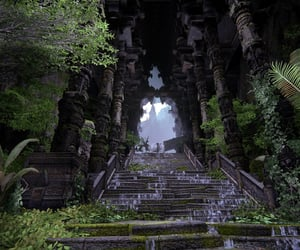 green, jungle, and steps image