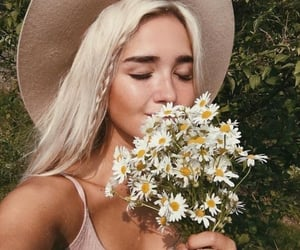 braid, flowers, and long hair image
