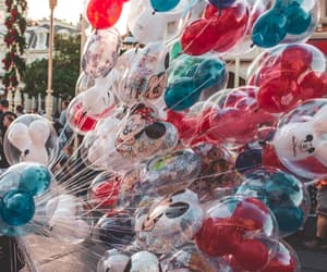 balloons, heart, and minnie image