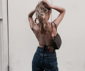 blonde hair, ponytail, and street fashion image