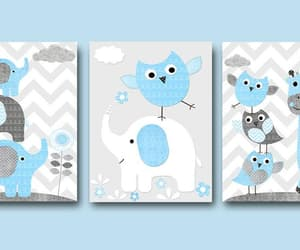 etsy, owls wall art, and blue grey image