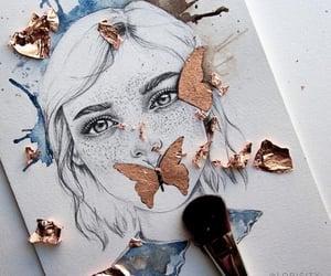 art, blue, and brush image