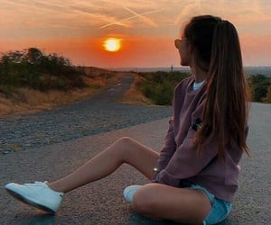 girl, sunset, and style image