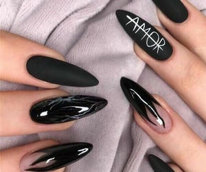 nails, black, and ​amor image