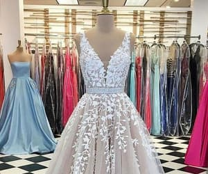 prom dress, tulle, and appliqués image