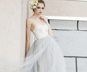 a-line, strapless, and lace image