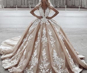 wedding ball gown, gold wedding dress, and wedding ball gowns image