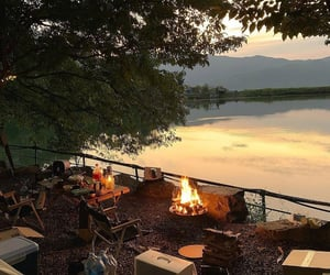 camping, sunset, and cozy image