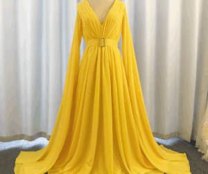 evening gown, prom gown, and yellow prom dress image