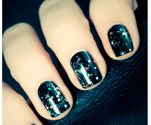 glitter, nails, and black image