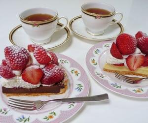 food, strawberry, and tea image