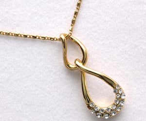 gold pendant necklace, necklace for women, and crystals rhinestones image