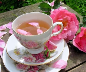 flowers, tea, and pale image