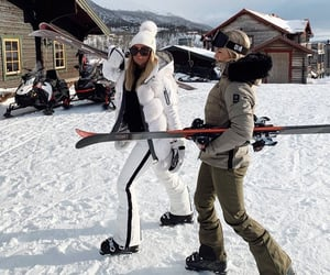 girl, Skiing, and snow image