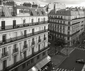 city, black and white, and paris image