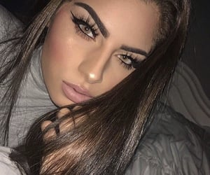beautiful, green eyes, and makeup image