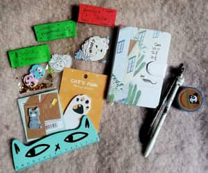 cat, kawaii, and stationery set image