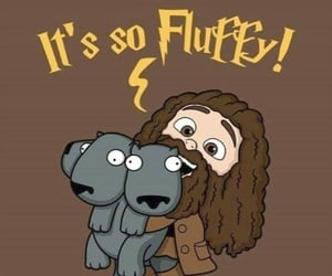harry potter, fluffy, and hagrid image